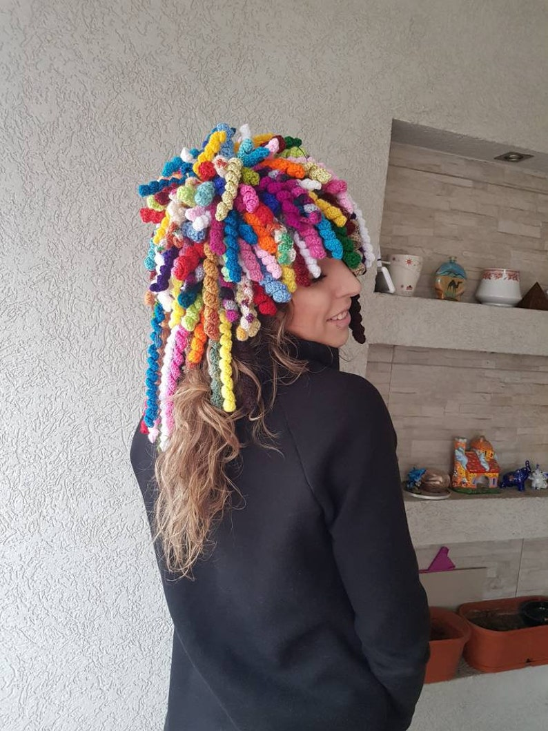 Funny Hair hat Crochet wig hat Knit curls hat Hippie Dreads  5eda1ea7716
