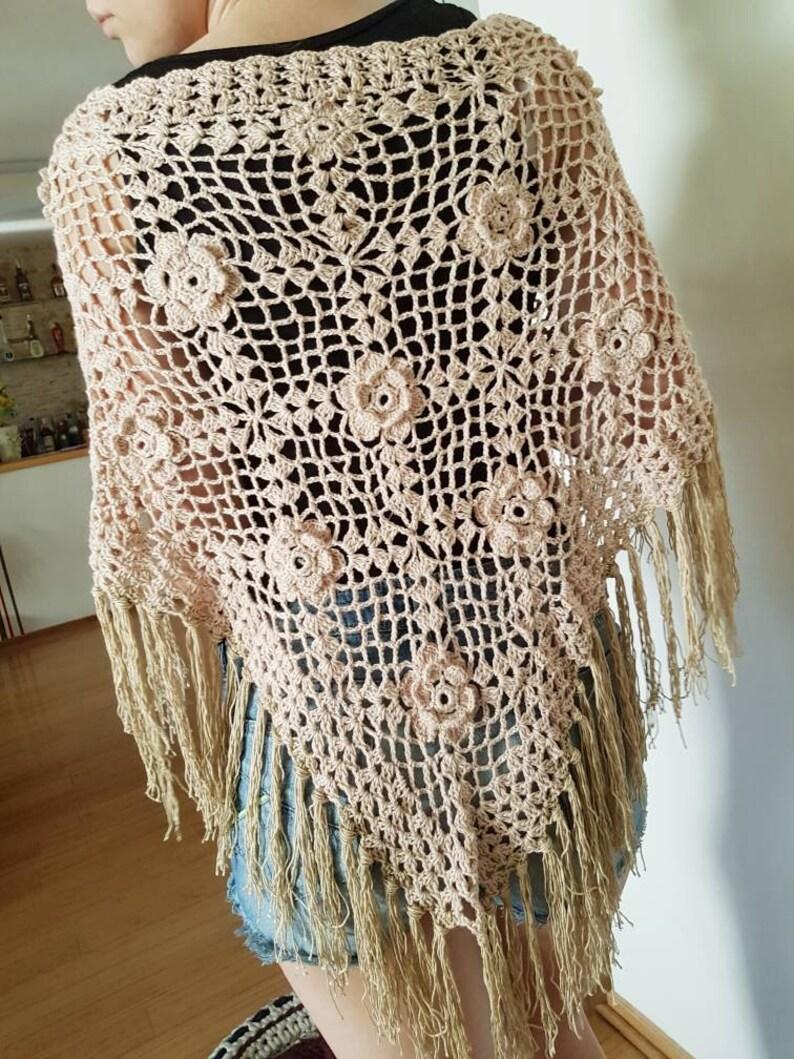 5ac1928c42 Crochet poncho Champagne cotton poncho Fringe poncho Beach   Etsy