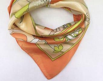 Vintage foulard of silk floral design.