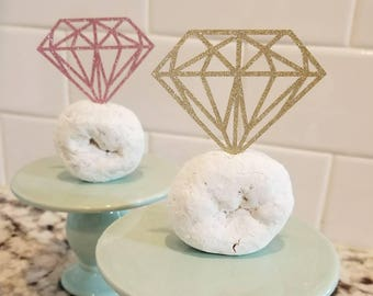 Engagement Ring Cupcake Toppers // Mini Donut Toppers, Set of 12 // Pink Glitter