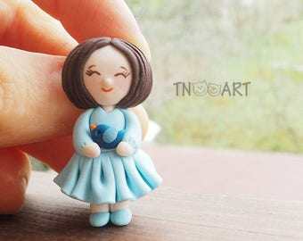 Tiny Brooch Girl with blue bird /handmade polymer clay jewelry / lovely pin / girly blue dress miniature clay pupa kids pin