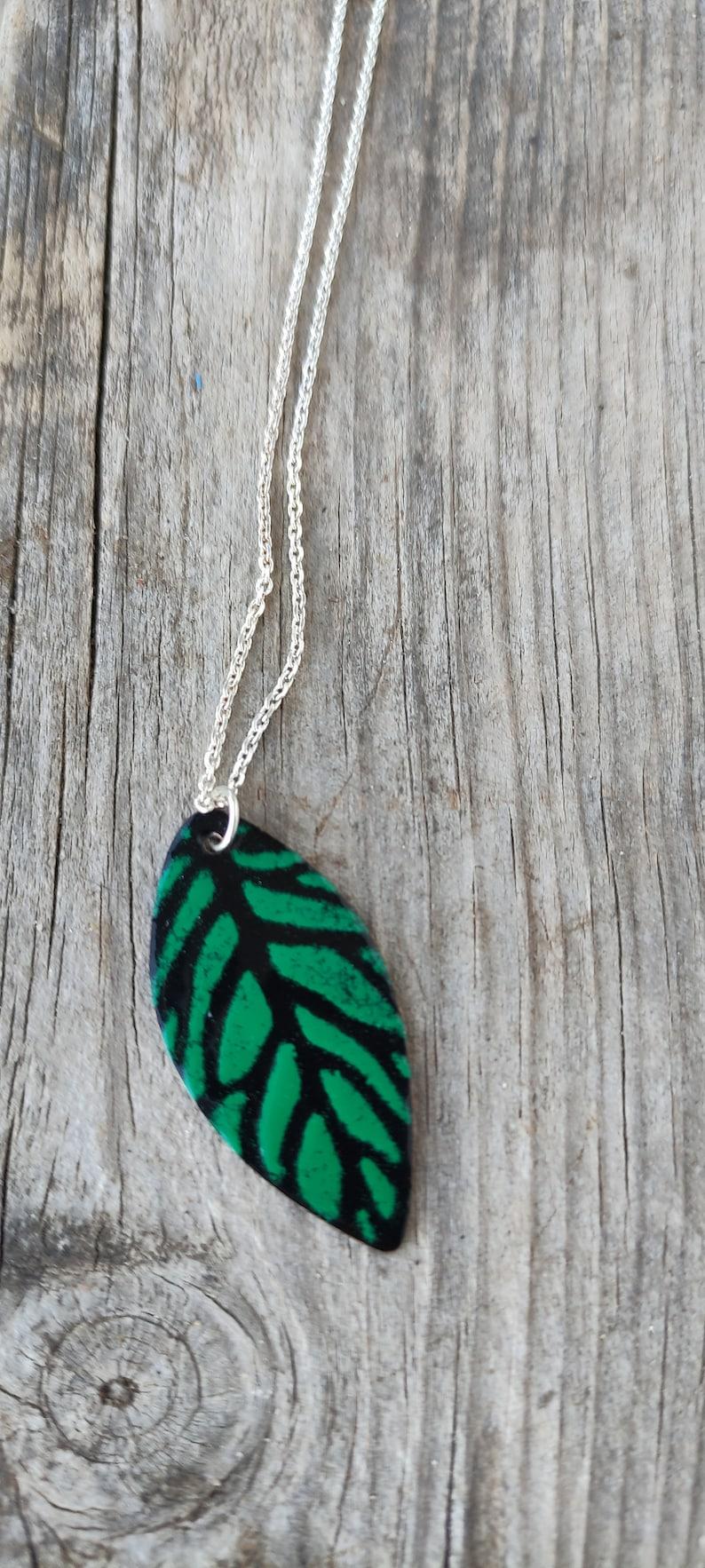 Enamel leaf pendant image 0