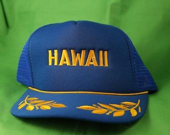 57fcfe16256 Vintage 80s Hawaii Snapback Trucker Cap Captain Leaves Honolulu Vacation  Holiday Tourist Travel Gold Cord Hawaiian Headwear Surf Tiki