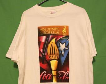 VTG 1996 Olympic Relay Shirt XL Made in USA Olympics Torch Retro Vintage 90s America Atlanta Coca Cola