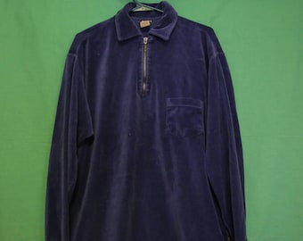 Vintage 80s Levi's Velour Long Sleeve Polo Zip Men's Medium Made in USA VTG Retro Worn Rare 90s