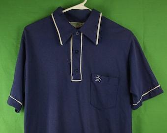 34493ee4 Vintage 80s Munsingwear Grand Slam Penguin Polo Shirt Medium Made in USA  Big Collar Navy Golf Shirt Hang Ten 70s