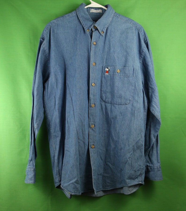 b889bf32ce Vintage 80s 90s Snoopy   Friends Denim Button Up Oxford Shirt