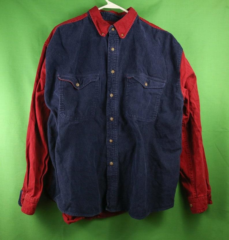 7f7c2d82 VTG 80s/90s Corduroy Two Tone Button Up Shirt XL / Sturdy Warm | Etsy