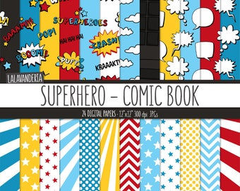 Superhero Digital Paper Pack Action Words And Comic Sounds Patterns Book Backgrounds Speech Bubbles
