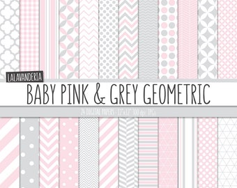 Geometric Digital Paper Package with Baby Pink and Grey Backgrounds. Printable Papers, Pink and Gray Geometrical Patterns. Digital Scrapbook