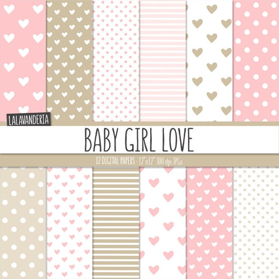 Baby Girl Digital Paper Pack Baby Pink Patterns With Hand Etsy