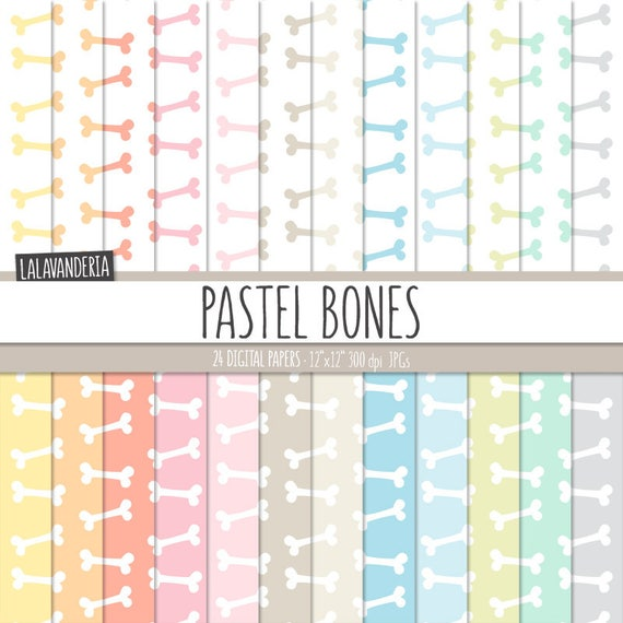 Bones Digital Paper Pack Pastel Dog Bones Patterns Printable Papers Baby Pet Backgrounds Soft Colors Digital Scrapbook Instant Download