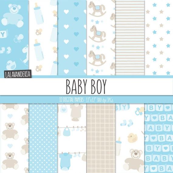 Papel Digital Bebé Niño. Kit Papeles Imprimibles Azul Bebé con   Etsy