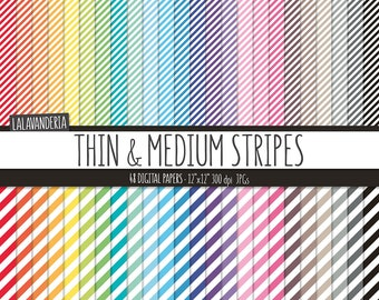 Rainbow Stripes Digital Paper Pack. Colorful Striped Backgrounds. Printable Lined Patterns. Geometric Digital Scrapbook Papers