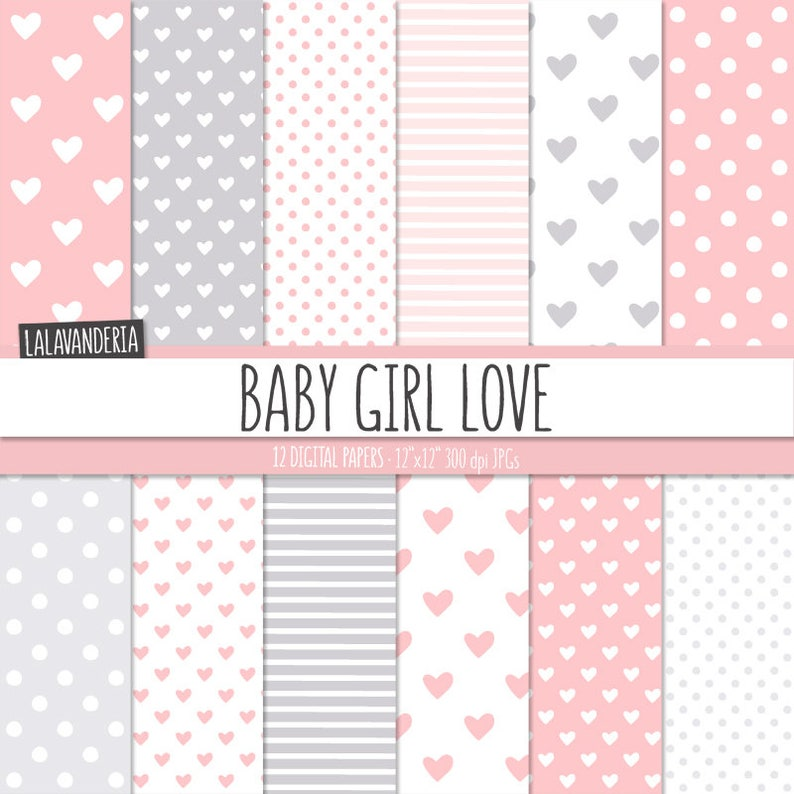 Baby Girl Digital Paper Pack Baby Pink And Grey Patterns With Etsy