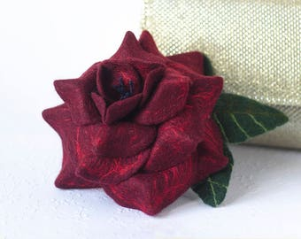 Burgundy Flower Pin Wife Gift for Mom Dark Red Rose Pin Rose Jewelry Flower Brooch Wine Red Pin Flower Jewelry Gift
