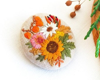 Sunflower Brooch Original Flower Embroidered Brooches For Women Unique Gift Mom Fall Floral Birthday Idea