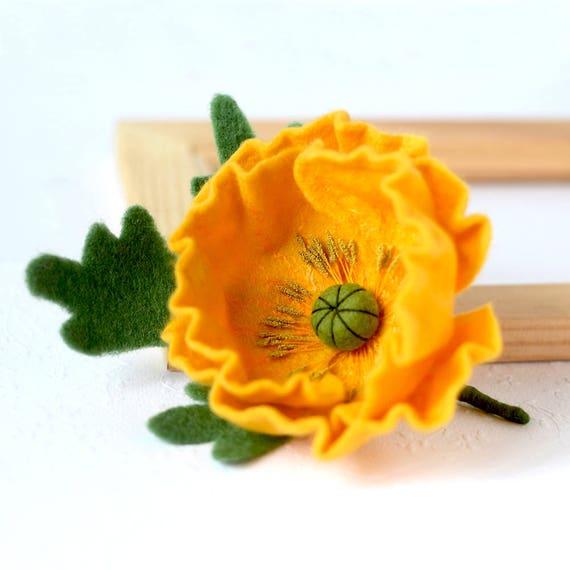 Poppies flowers felted poppy pins poppy brooch yellow flower etsy image 0 mightylinksfo
