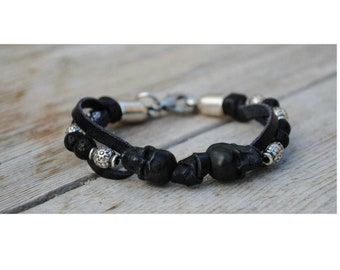 Bracelet skull, black leather