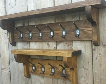 Number insert  Coat Hook Rack With Shelf