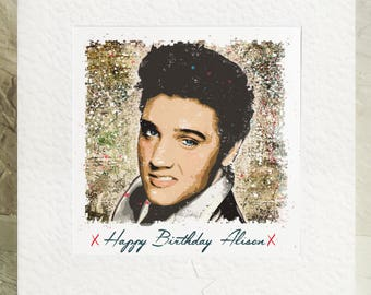 Personalised Elvis Presley Birthday Card Handmade Framed Picture The King Rock And Roll