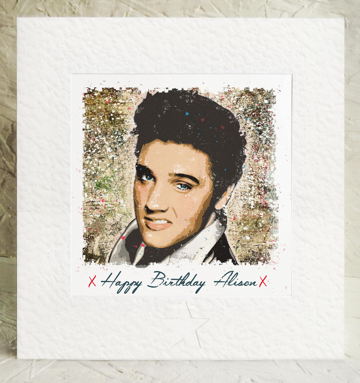 Personalised Elvis Presley Birthday Card Handmade Framed
