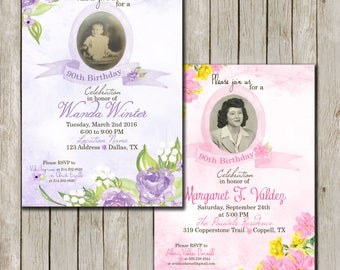 90th Birthday Invitations With Picture
