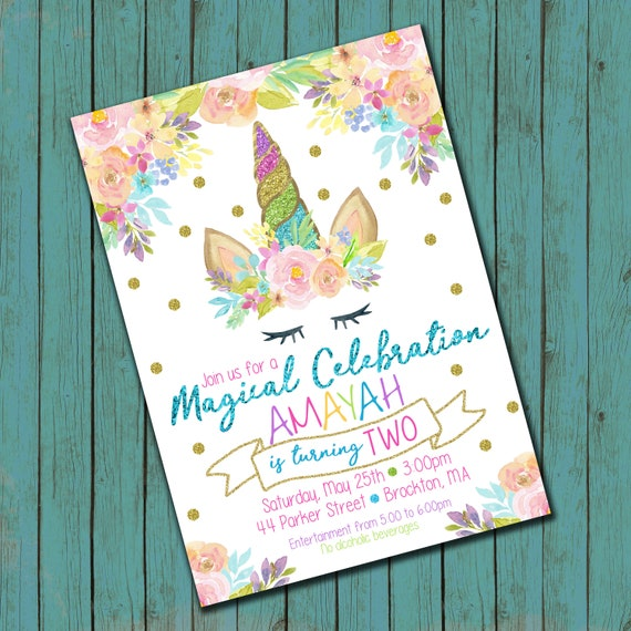 Rainbow Floral Unicorn Birthday Invitation High Resolution Digital File