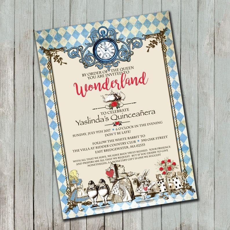Vintage Alice In Wonderland Inspired Birthday Invitations 25