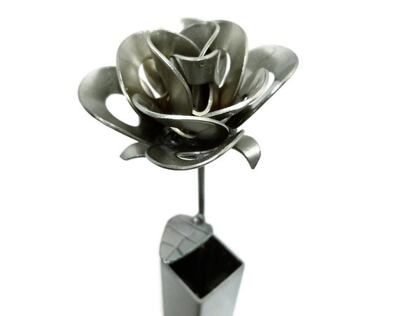 Metal Steel Forever Rose and Vase created by Welding Scrap Metal Steampunk Style making Unique Gifts and Modern Rustic Home Decor!