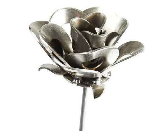Metal Steel Forever Rose created by Welding Scrap Metal Washers Steampunk Style making Unique Gifts and Modern Rustic Home Decor!