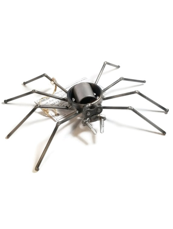Large Scrap Metal Spider Figurine, Steel Spider, Metal Arachnid Sculpture