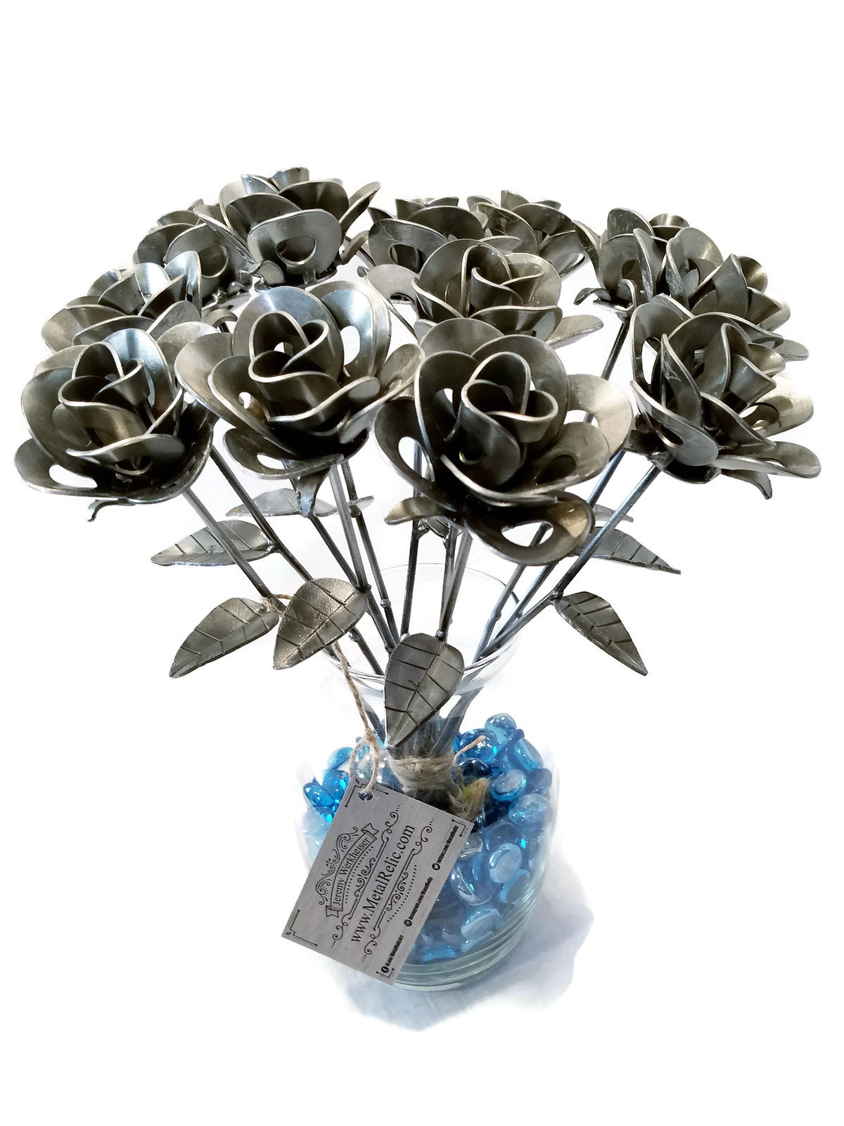 One Dozen 12 Metal Steel Forever Roses Created By Welding Scrap Steampunk Style Making Unique Gifts And Modern Rustic Home Decor