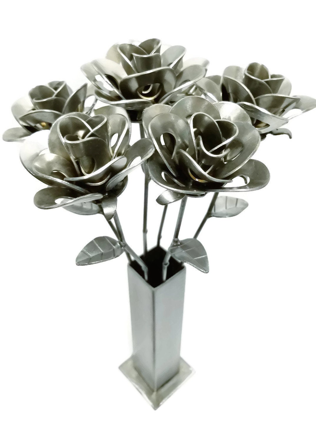 Six Metal Steel Forever Roses And Vase Created By Welding Scrap Steampunk Style Making Unique Gifts Modern Rustic Home Decor