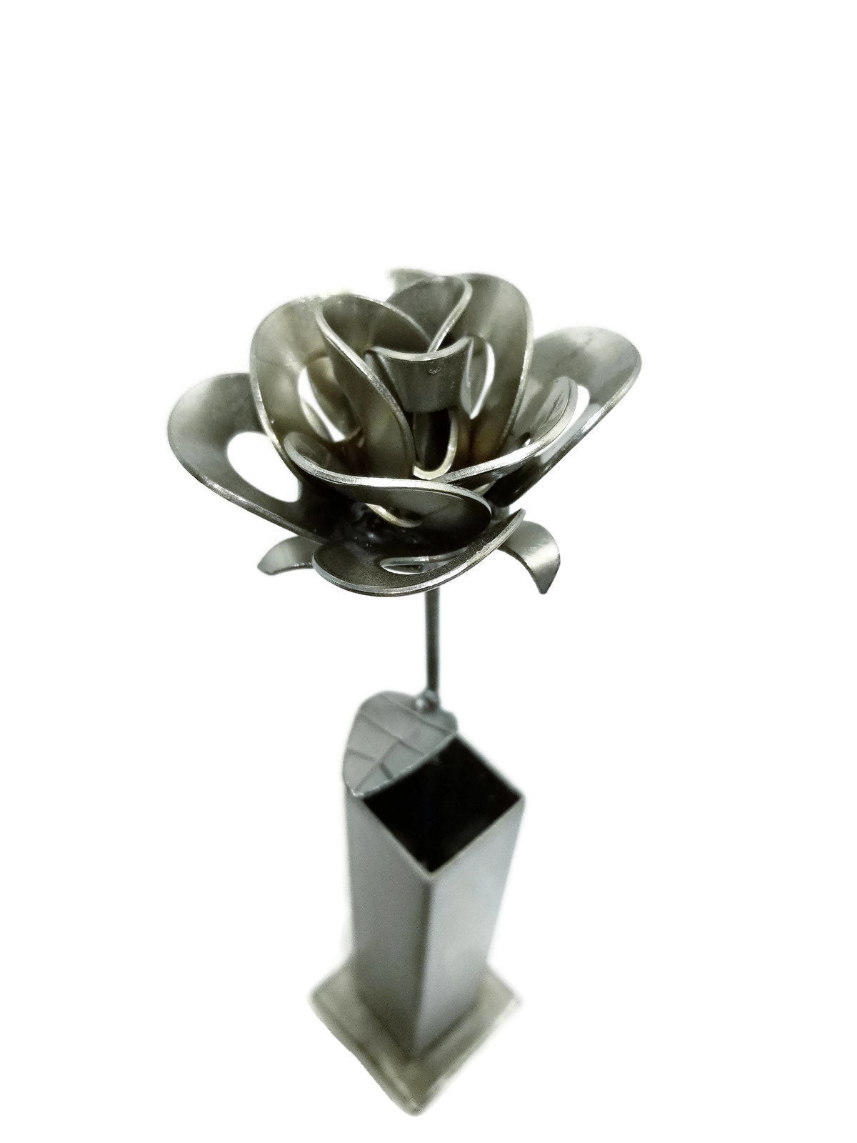 Metal Steel Forever Rose And Vase Created By Welding Scrap Steampunk Style Making Unique Gifts Modern Rustic Home Decor