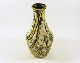 Gorka Livia 1950/'S ART POTTERY ! Green Retro Vase with Bastract Motif 6.3
