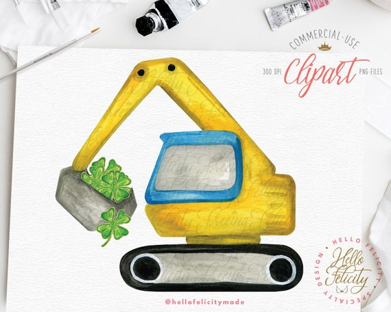 St Patricks Day, Excavator, Four Leaf Clover, Watercolor Clipart,  Construction, PNG Sublimation Design, Instant Download, Commercial Use DIY