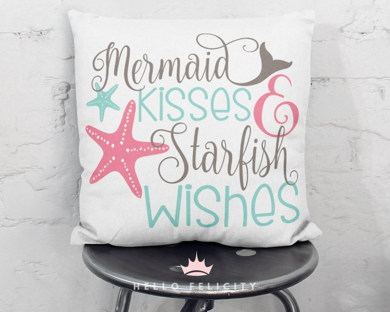Mermaid Svg Mermaid Kisses and Starfish Wishes Svg Png Dxf image 0