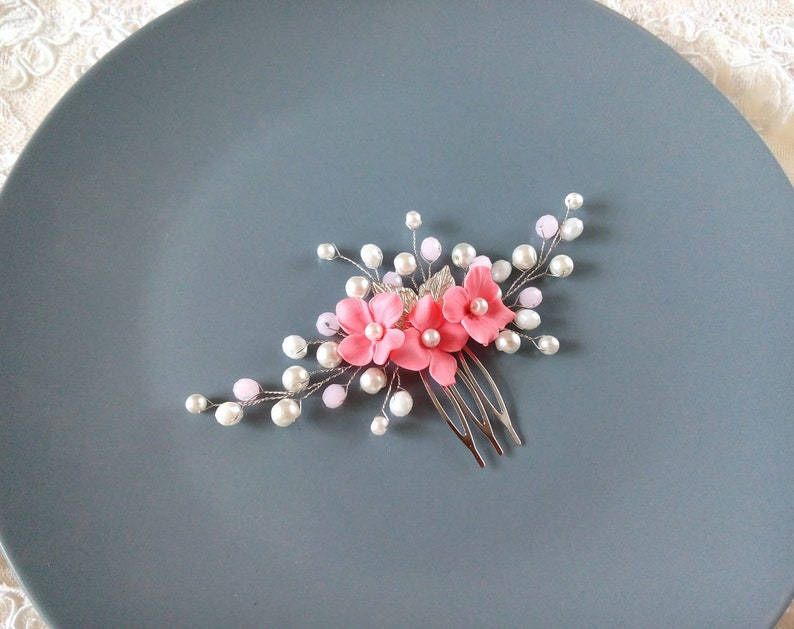 Silver bride hair comb Bridal pink leaf hair accessories Wedding flower hairpiece for bridesmaid