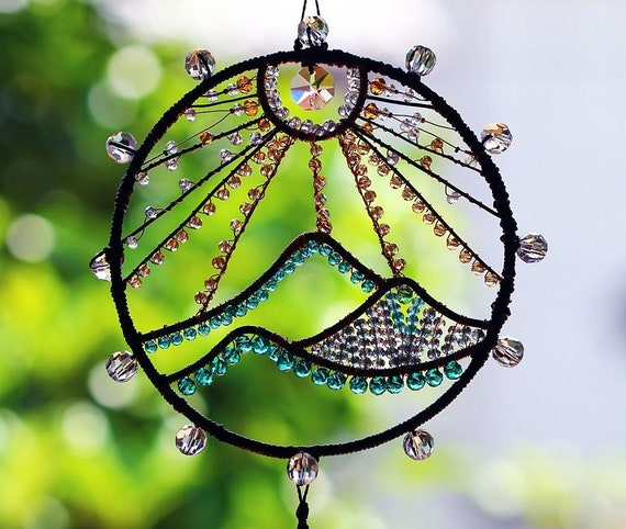 Stained Glass String Of Rainbow Owls Sun Hanging Sun Catcher-Window Decoration