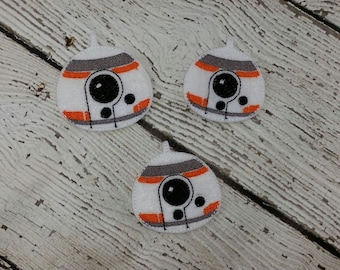 BB Robot Feltie, Set of 4, Hair Bow Supplies, Clippie Cover, Badge Reel Cover, Craft Supply, Scrapbooking, Card Making, Planner Clip