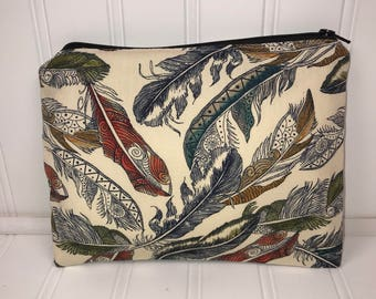 Handmade Zipper Pouch | Colorful Feather Pouch