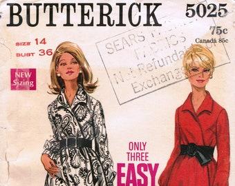 BUTTERICK 5025 sewing pattern for women. Wrap dress pattern. Vintage 1960s Butterick dress sewing pattern. Sewing gift.