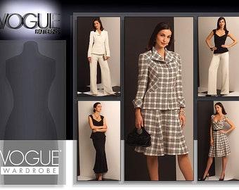VOGUE V1042 sewing pattern for women. Vogue Wardrobe separates: Jacket, Top, Dress, Skirt, Pants pattern. Sweetheart neckline dress pattern.