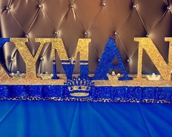 Royal safari glitter name centerpiece