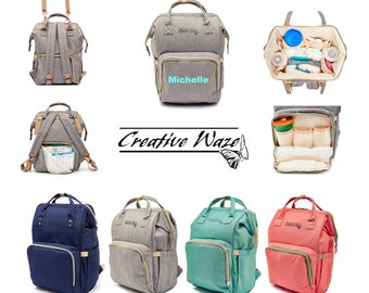 Personalized Diaper Bag Backpack , Mummy backpack With Stroller Straps    Pram Straps adde9e1a51
