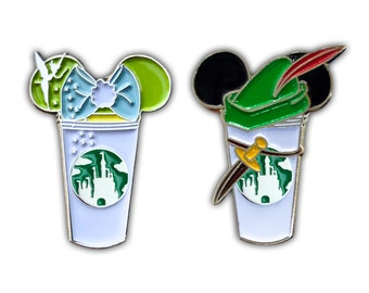 Peter Pan and Tinkerbell Castle Coffee Cup Pin | Tinkerbell | PeterPan | Peter Pan pins | Tink Pins | Lost Boys Pin