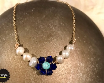 Personalized gold filled necklace crystal flower and freshwater pearls