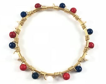 Red White and Blue Wire Wrapped Bangle - Patriotic - Children Bracelet - Wire Jewelry - Baby Jewelry - Mother Daughter - Itty Bitty Bangles