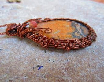 Jasper and Copper Wire Wrapped Pendant